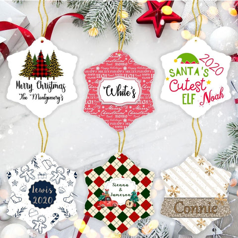 Personalized Ceramic Snowflake Ornaments
