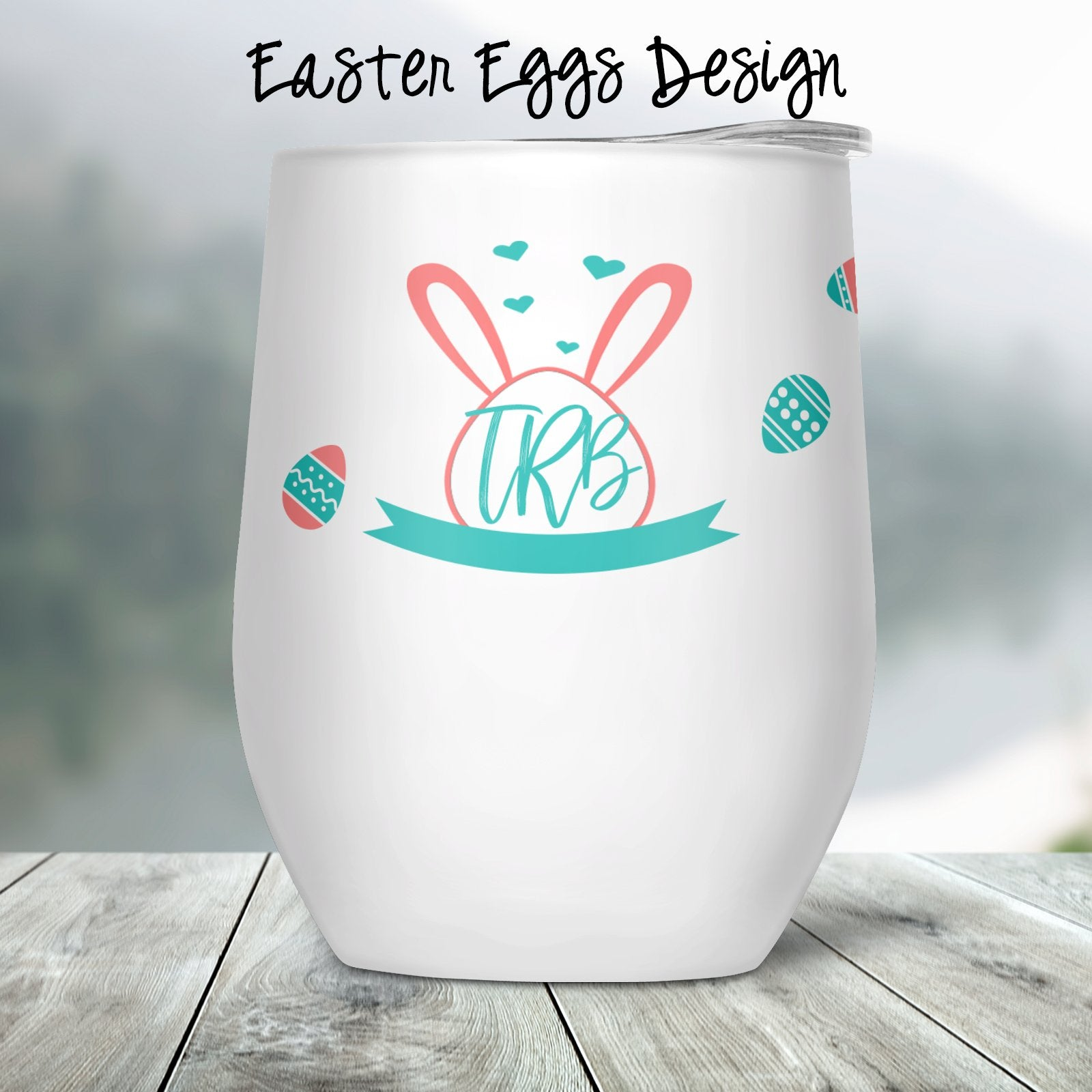Easter Eggs Custom Stemless Wine Glass