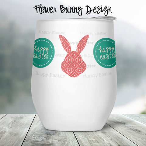 Flower Bunny Custom Stemless Wine Glass
