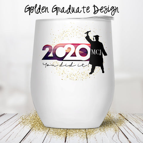 Golden Graduate Custom Stemless Wine Glass