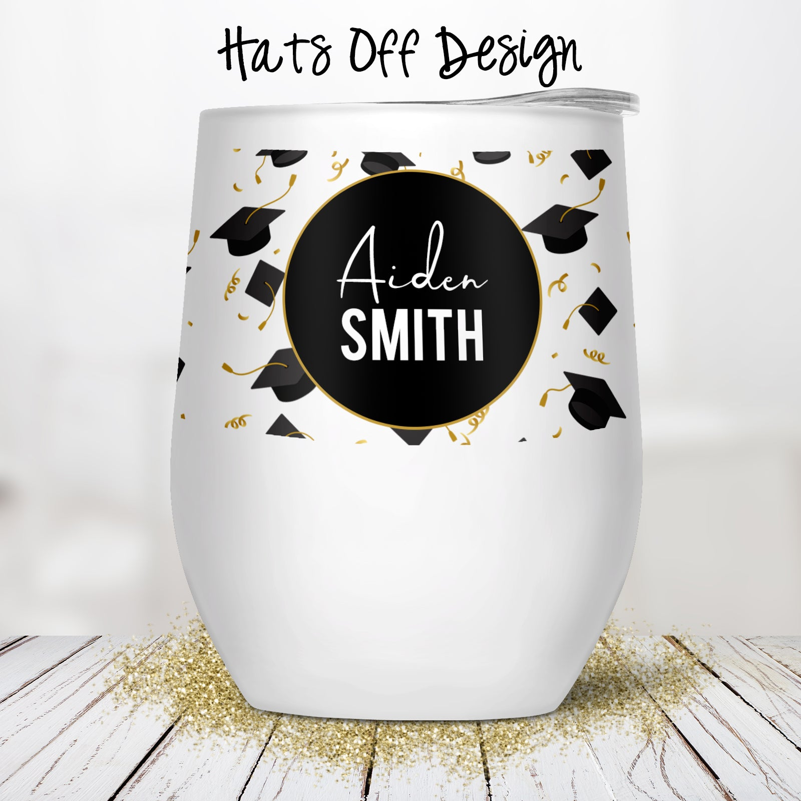 Hats Off Custom Stemless Wine Glass