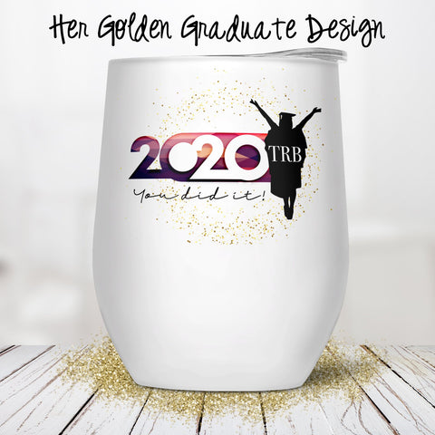 Her Golden Graduate Custom Stemless Wine Glass