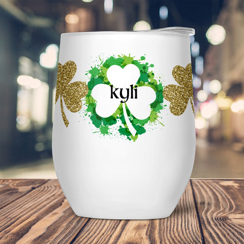 Irish Paint Custom Stemless Wine Glass