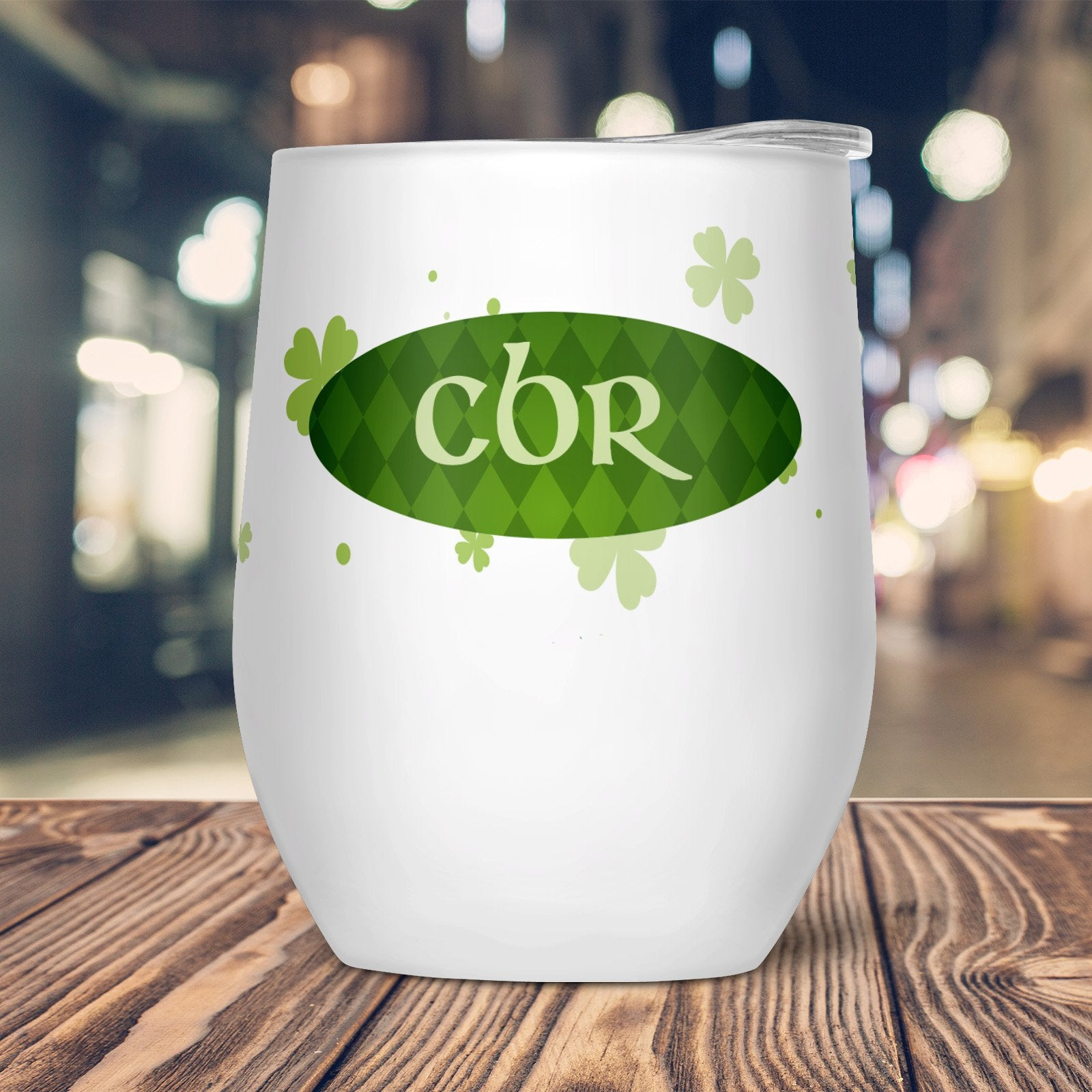 Lucky Clover Custom Stemless Wine Glass