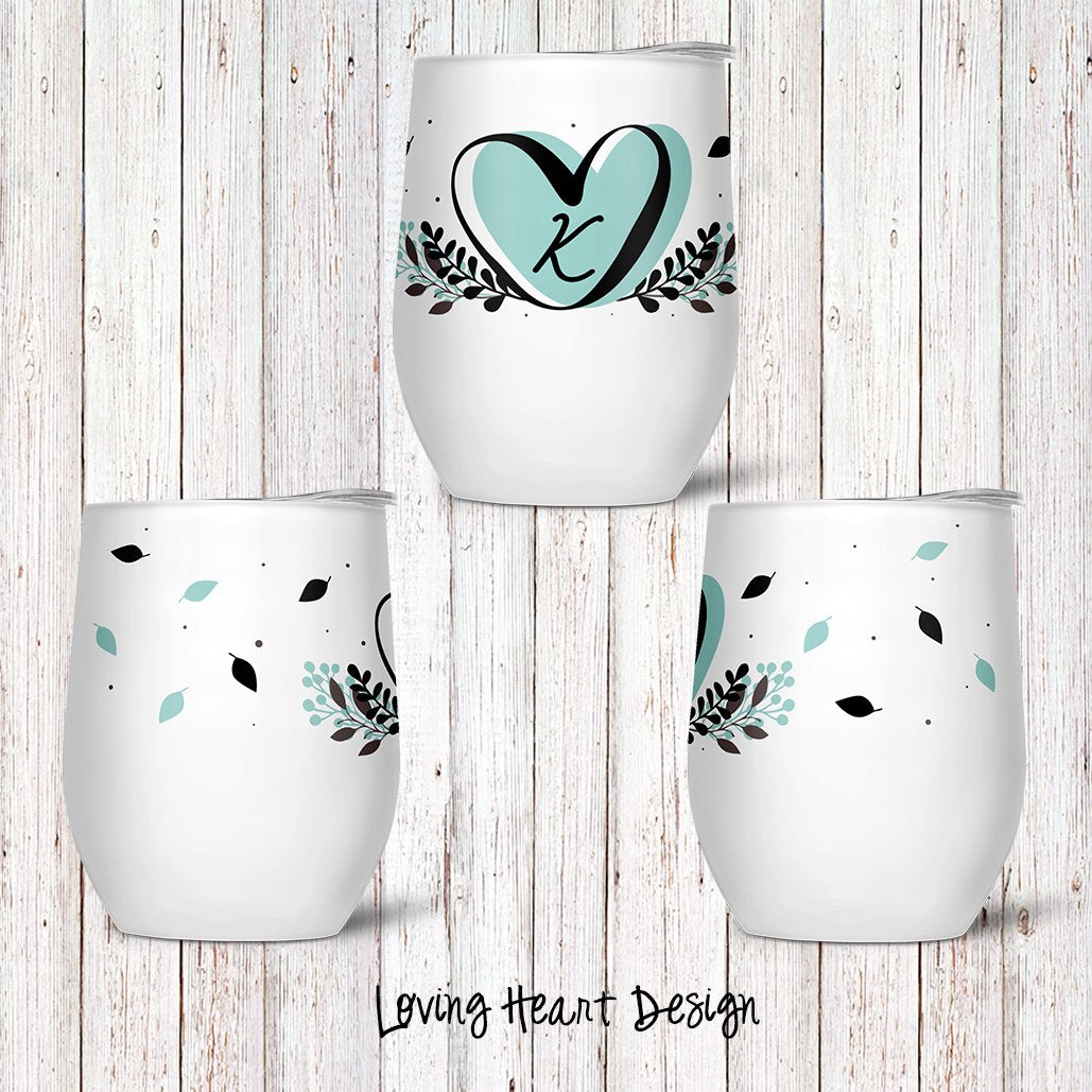 Loving Heart Custom Stemless Wine Glass