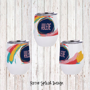 Retro Splash Custom Stemless Wine Glass