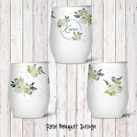 Rose Bouquet Custom Stemless Wine Glass