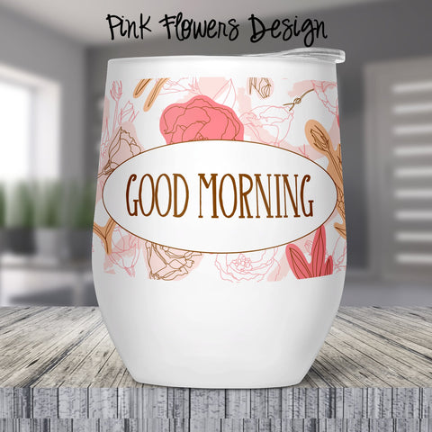 Pink Flowers Custom Stemless Wine Glass