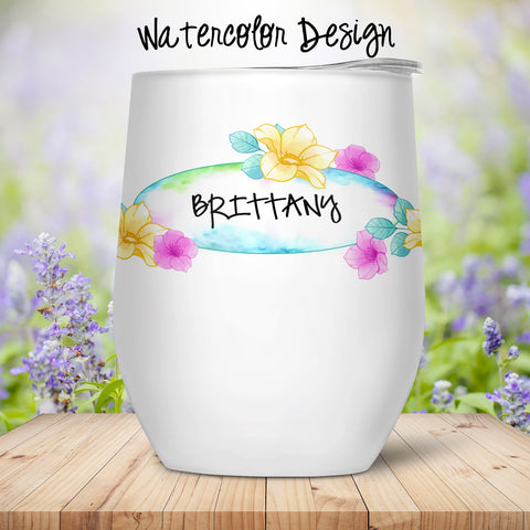 Watercolor Custom Stemless Wine Glass