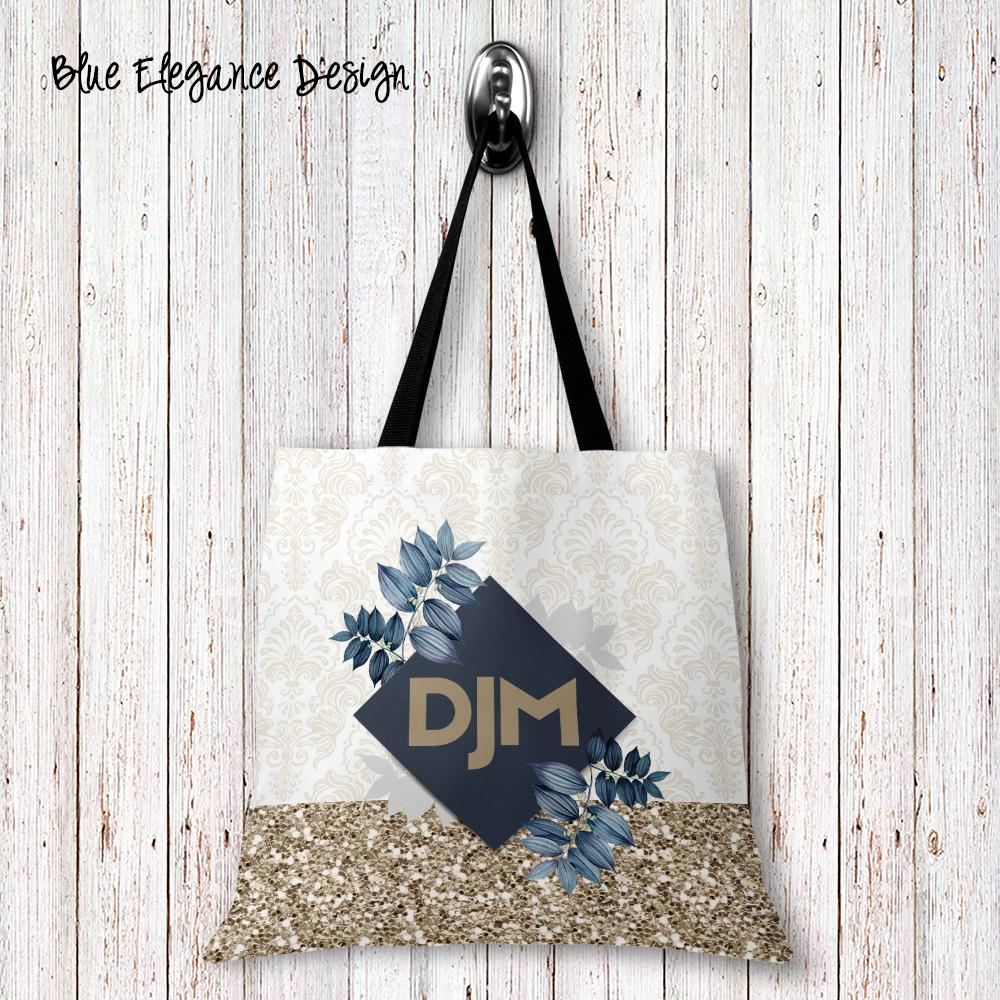 Blue Elegance Personalized Tote Bags - 3 Sizes to Choose From