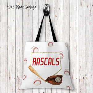 Home Plate Personalized Tote Bags - 3 Sizes to Choose From