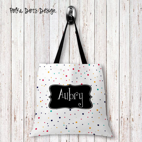 Polka Dots Personalized Tote Bags - 3 Sizes to Choose From