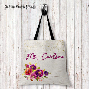 Rustic Purple Personalized Tote Bags - 3 Sizes to Choose From