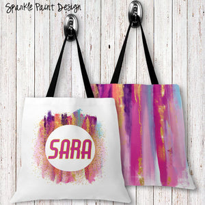 Sparkle Paint Personalized Tote Bags - 3 Sizes to Choose From