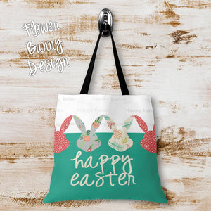Flower Bunny Personalized Tote Bags - 3 Sizes to Choose From