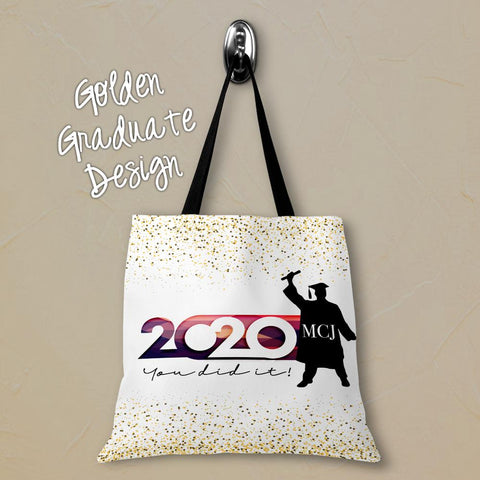 Golden Graduate Personalized Tote Bags - 3 Sizes to Choose From