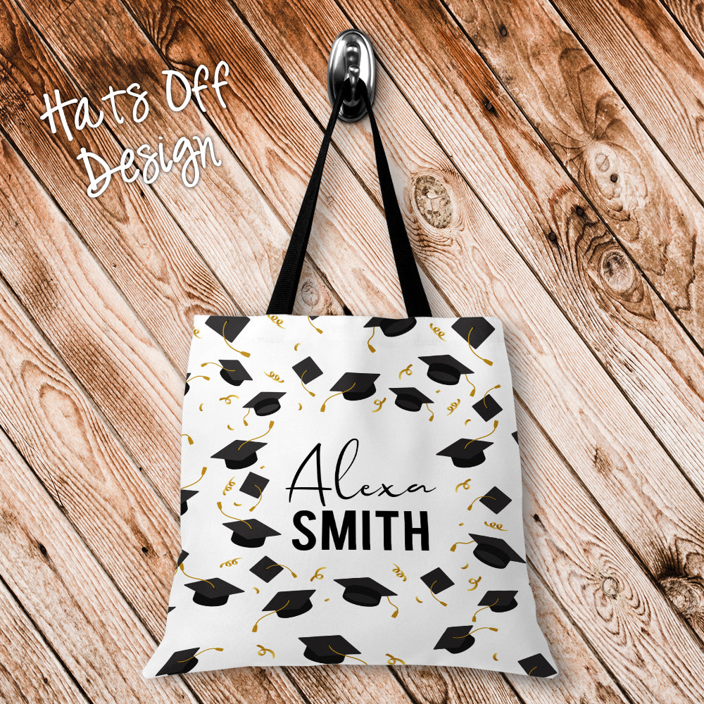 Hats Off Personalized Tote Bags - 3 Sizes to Choose From