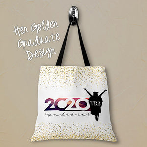 Her Golden Graduate Personalized Tote Bags - 3 Sizes to Choose From