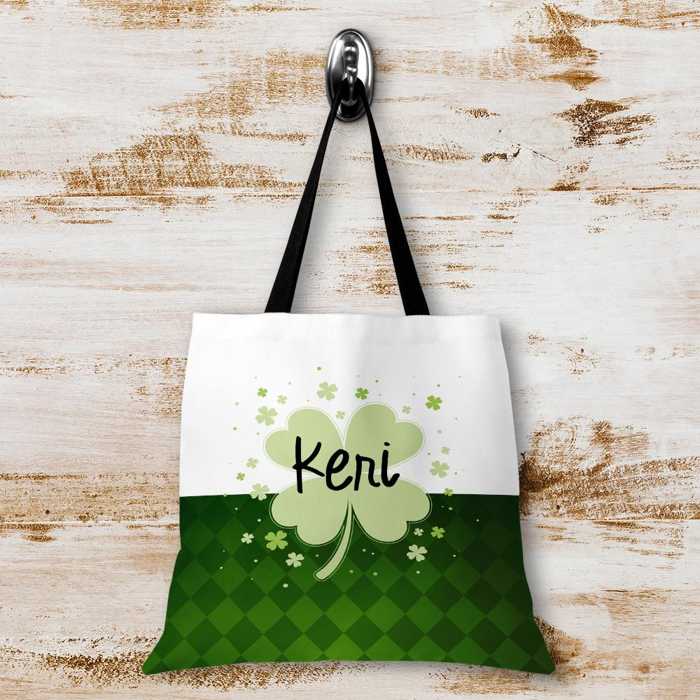 Lucky Clover Personalized Tote Bags - 3 Sizes to Choose From