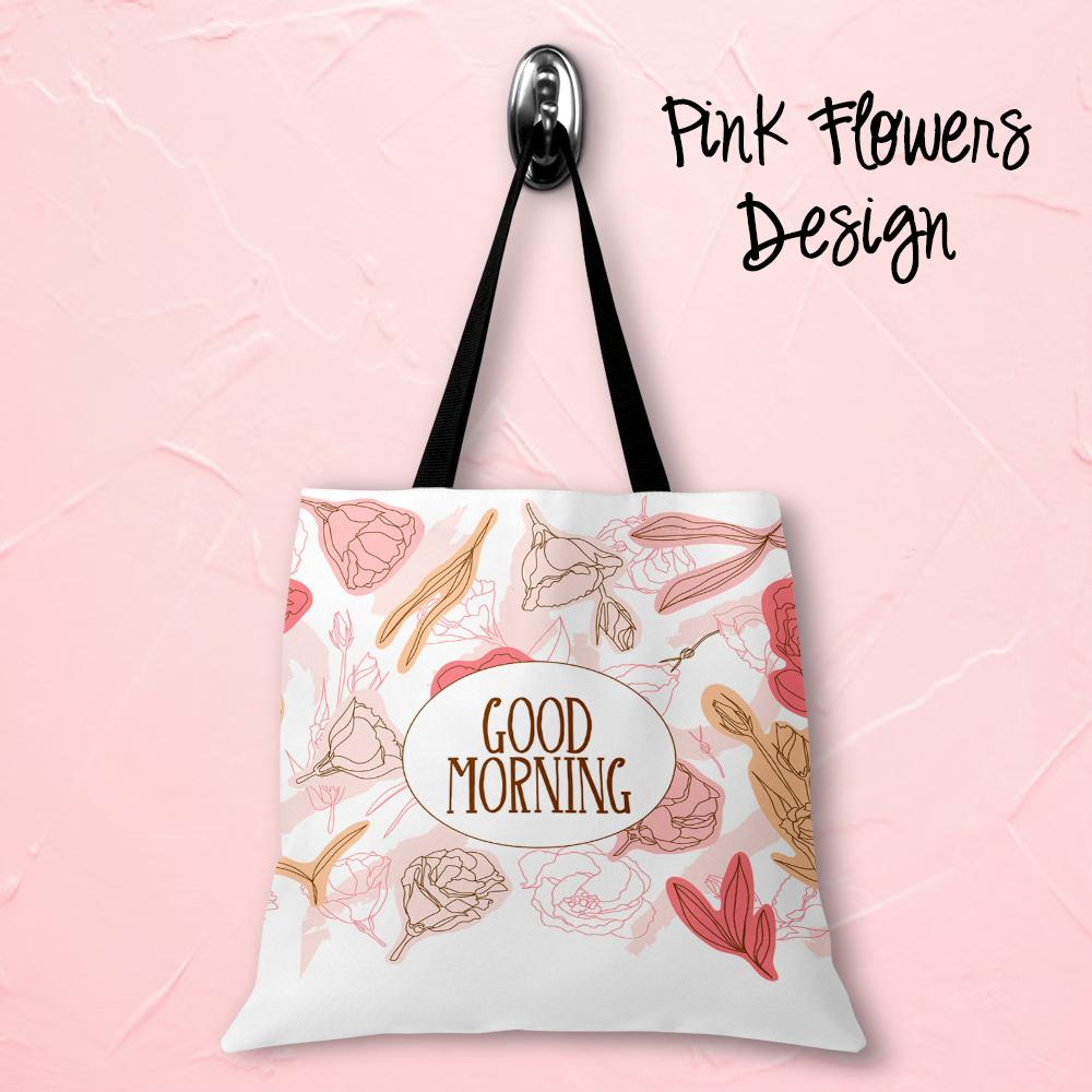Pink Flowers Personalized Tote Bags - 3 Sizes to Choose From