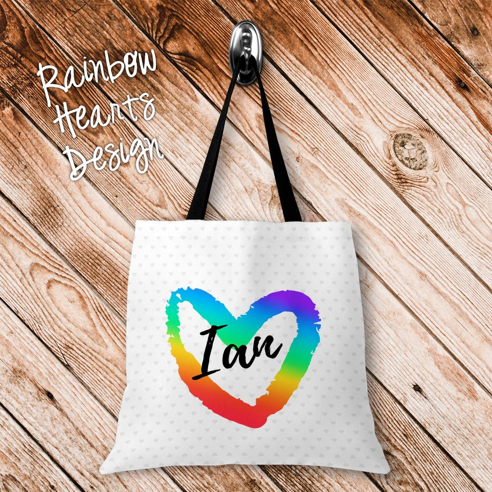 Rainbow Hearts Personalized Tote Bags - 3 Sizes to Choose From
