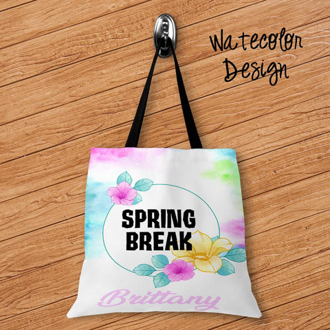 Watercolor Personalized Tote Bags - 3 Sizes to Choose From