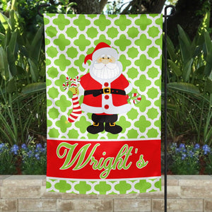 Green Santa Personalized Garden Flag