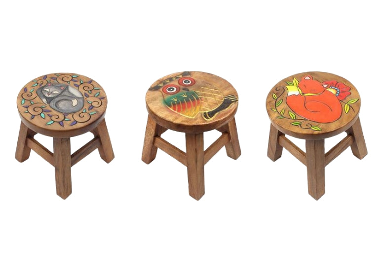 Three hand painted carved acacia wood stools