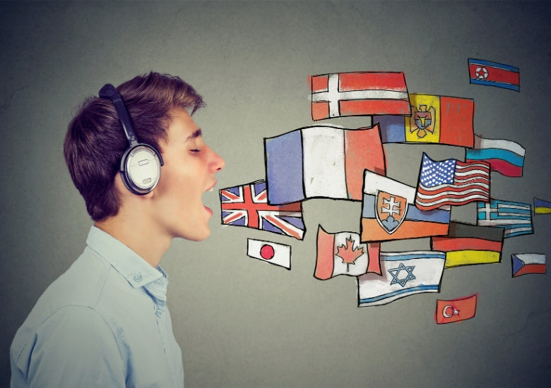Man learning to speak lots of different languages