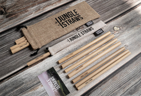 12 pack set of bamboo straws