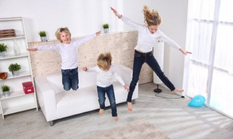 children playing on the sofa
