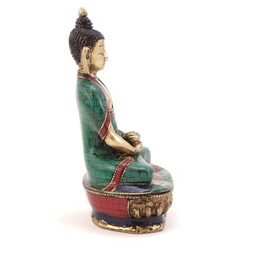 Turquoise Buddha Holding Medicine Bowl - Carved Culture