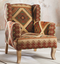 Aravali kilim upholstered armchair - Carved Culture