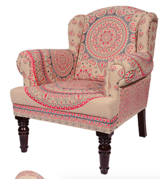 Mandala Design Pink Armchair - Carved Culture
