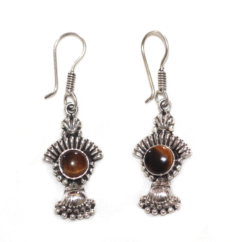 Silver Dangle Earrings With Coloured gem Stones - Carved Culture