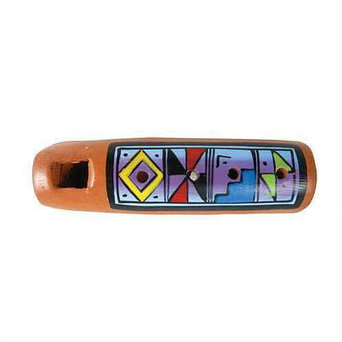 Ceramic Painted Flute Pendant 7cm - Carved Culture