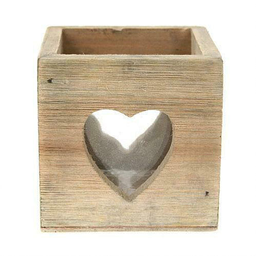 Wooden Heart Tealight Holder & Glass Insert - Carved Culture