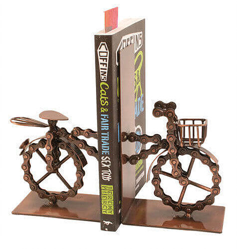 Recycled Bike Bookends - Carved Culture