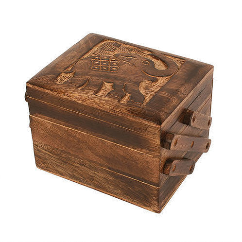 Indian Elephant Box - Carved Culture