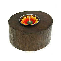 Teak Root T-Lite Holder - Carved Culture