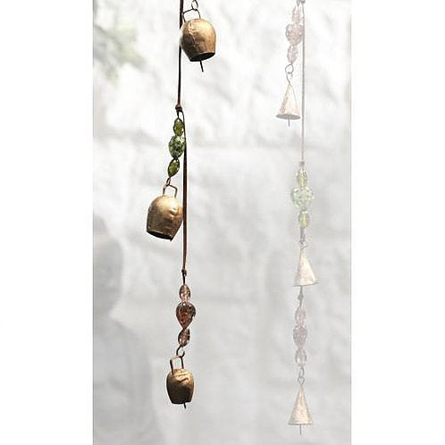 Indian Metal Cow Bells Wind Chime - Carved Culture