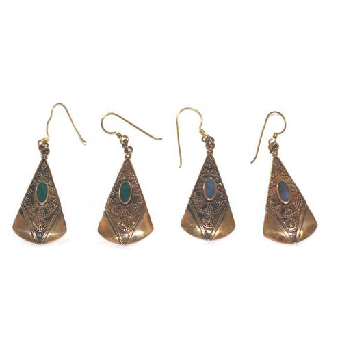 Brass Blue & Green Earrings - Carved Culture