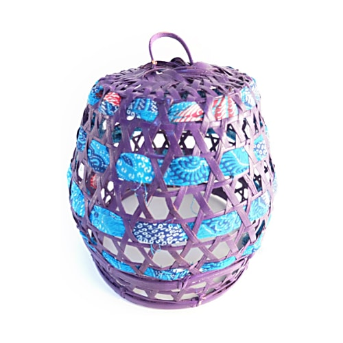 purple batik bamboo lampshade