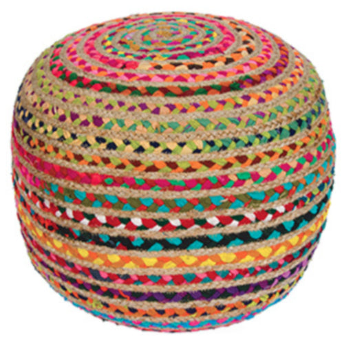 Multi Chindi & Jute Pouffe - Carved Culture