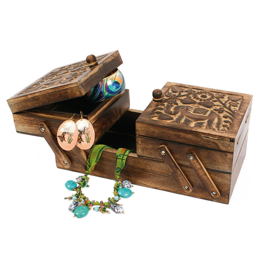 Sewing Box Storage Chest - Carved Culture