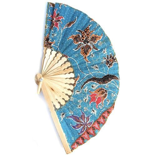 Bamboo Batic Fan - Carved Culture