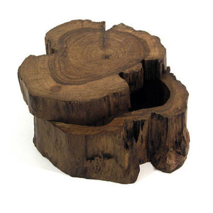 Wooden Log Box With Sliding Lid - Carved Culture