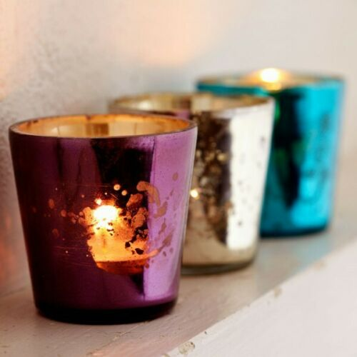 Multi Coloured Tea Light Glass Holder - Carved Culture