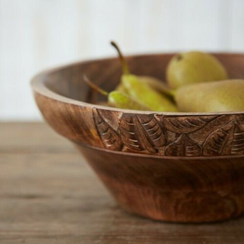 Mango Wood Fruit Bowl (Leaf) - Carved Culture