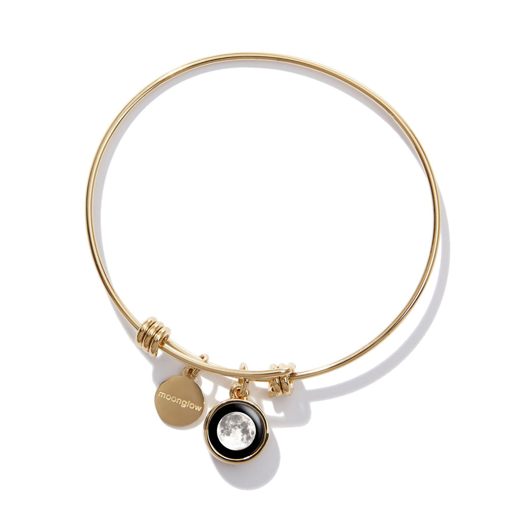 Modern Moon Adjustable Bangle Bracelet in Gold